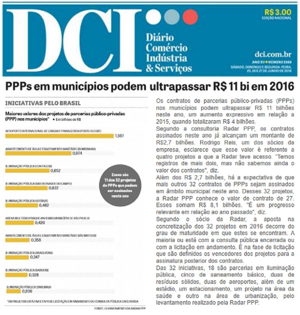DCI revela que as cidades vão assinar PPPs em 2016