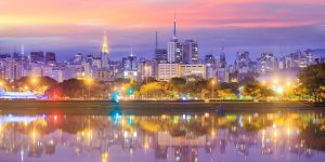 Foto - São Paulo Skyline from Parque Ibirapuera Park