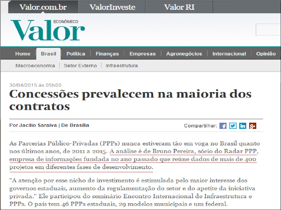 Radar PPP no Valor Econômico