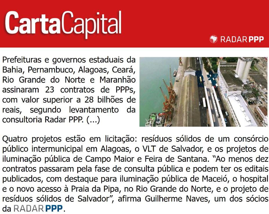 Infraestrutura Nordestina depende do futuro das PPPs, de acordo com a Carta Capital