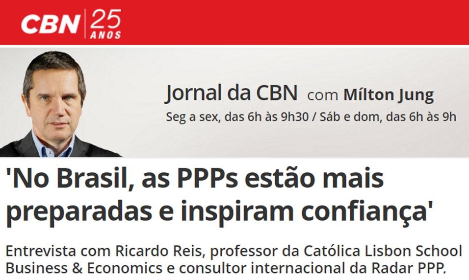 Professor da Católica-Lisbon e consultor da Radar PPP concede entrevista à Rádio CBN