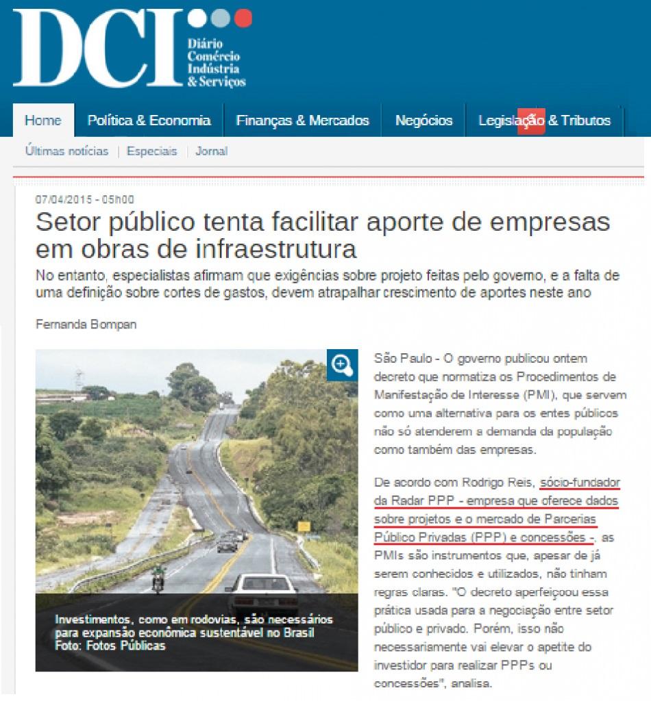 Imagem da notícia veiculada pelo DCI em 07/05/2015