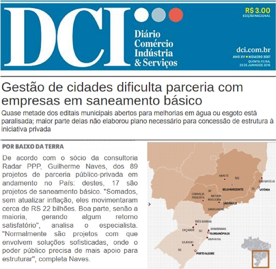 Diário do Comércio destaca informação da Radar PPP sobre saneamento básico