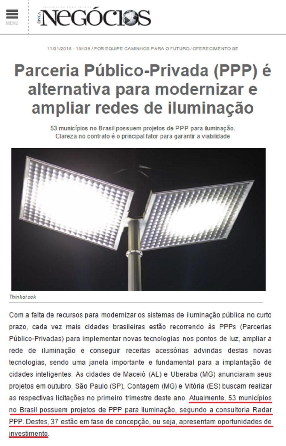 PPPs de Iluminação Pública Crescem no Brasil