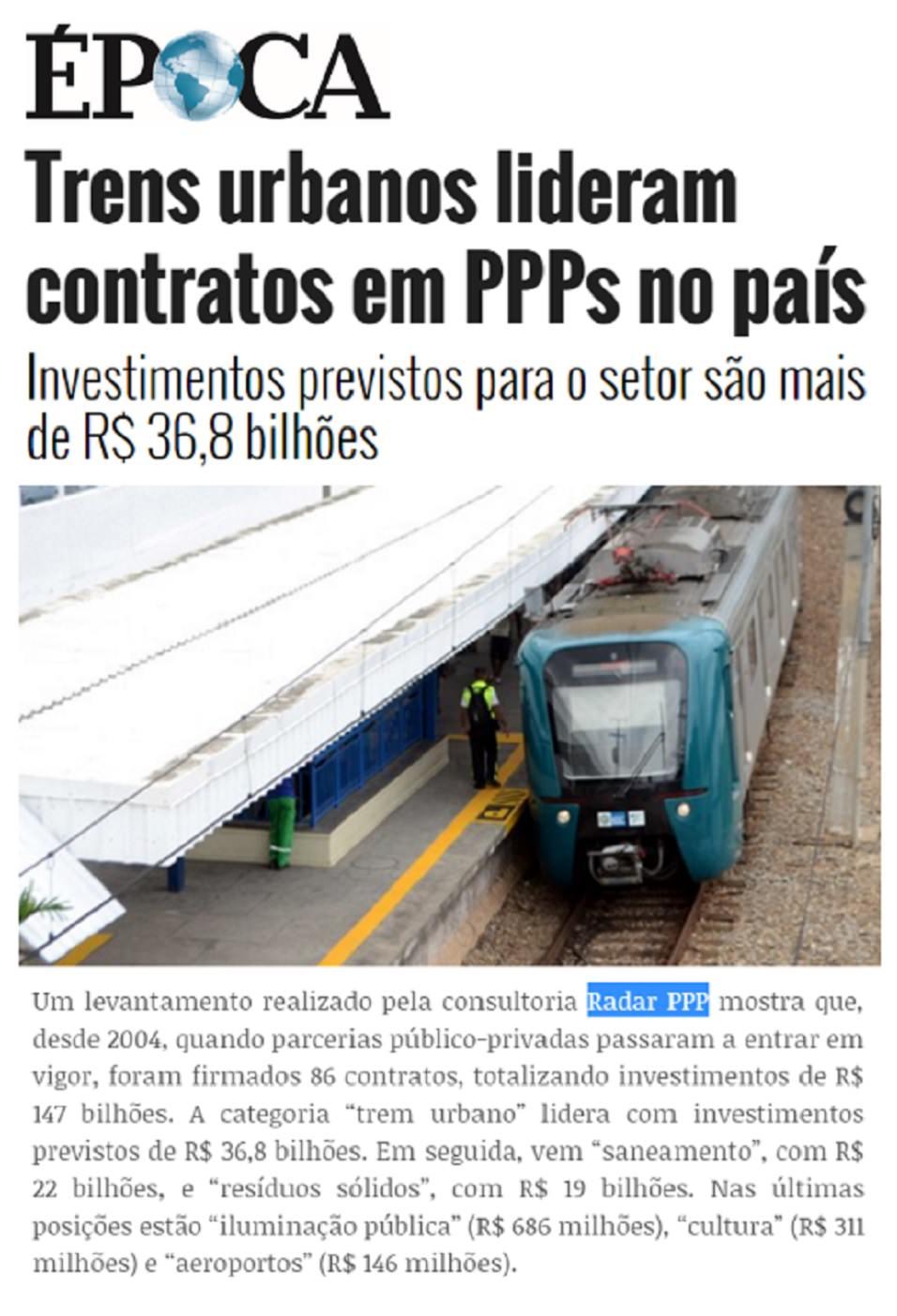 Os trens urbanos lideram o valor de investimento entre os projetos de PPP