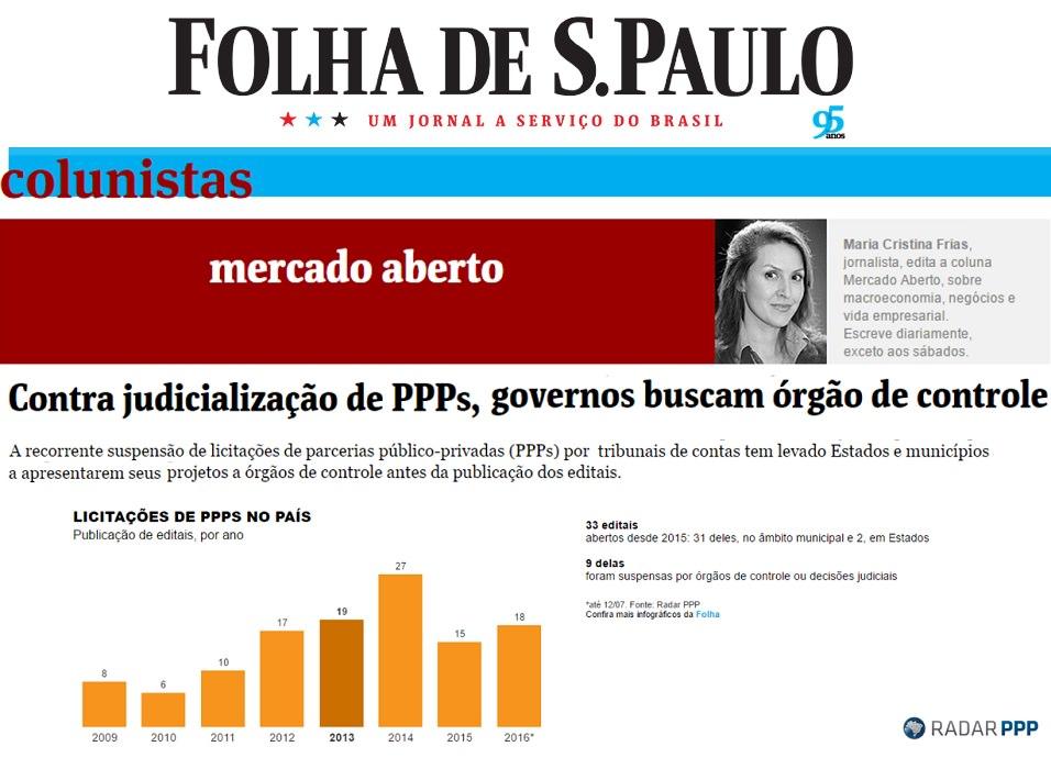 Órgãos de Controle são responsáveis pela paralisação de parcela relevante das licitações de PPP e concessão lançadas no Brasil, aponta Folha de S. Paulo