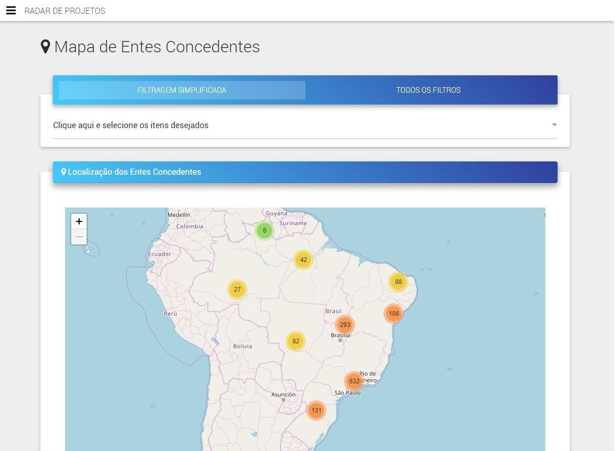 Mapa dos Projetos