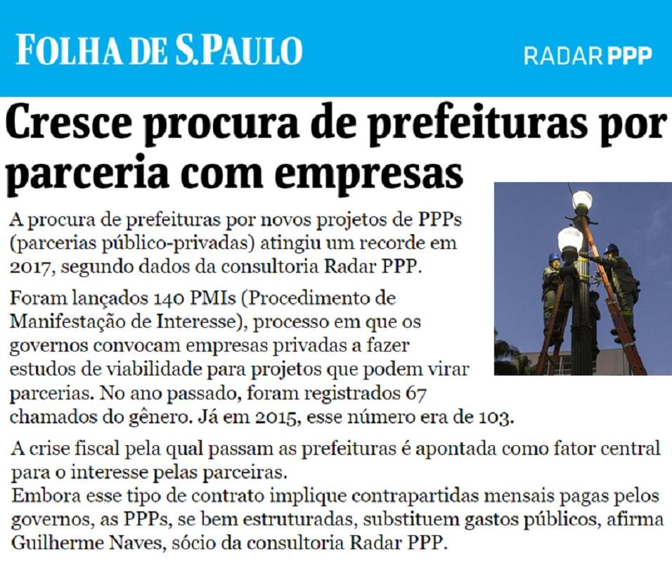 Radar PPP explica, em reportagem da Folha de São Paulo, os principais números do ano de 2017 para as Parcerias Público-Privadas