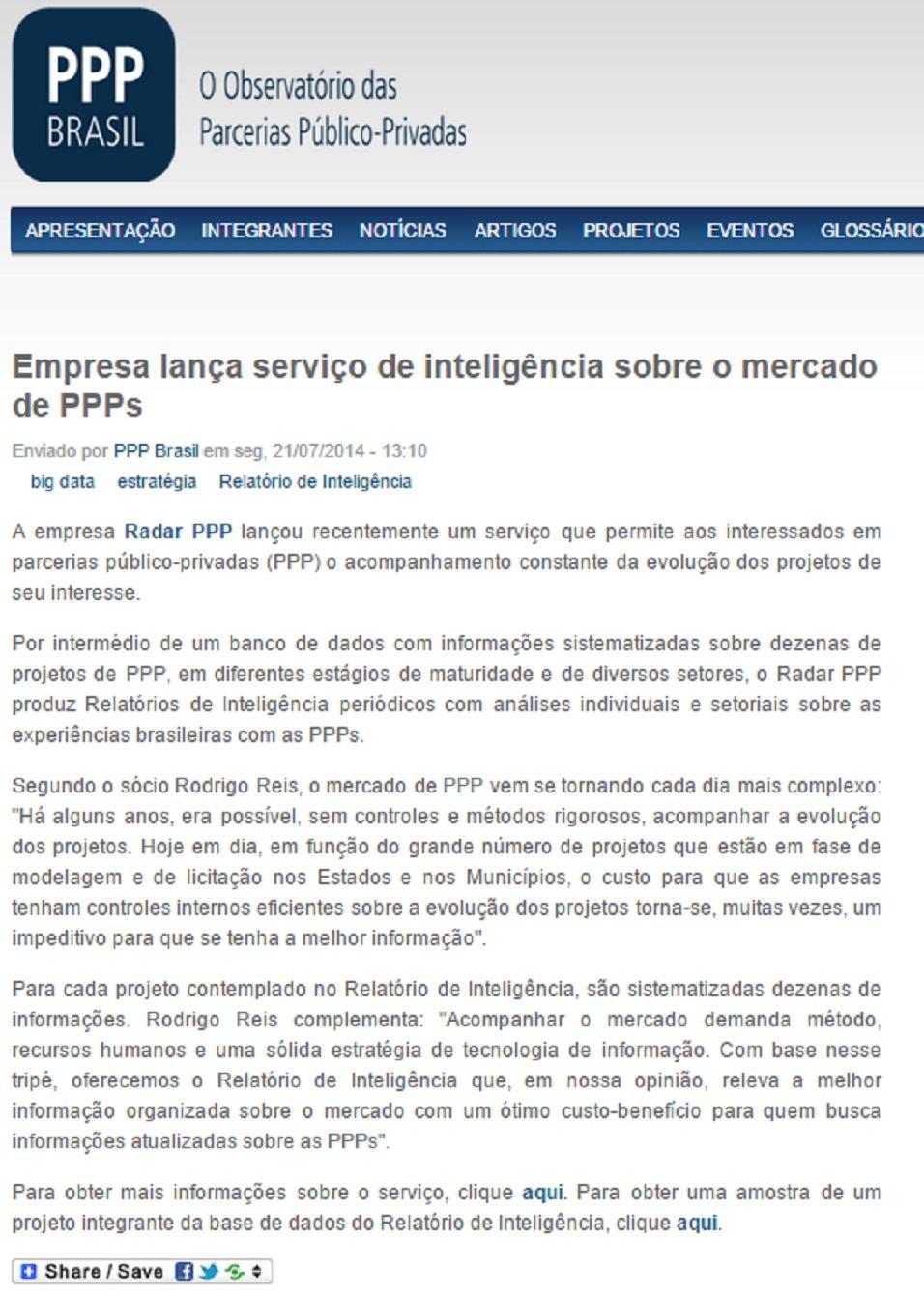 Imagem da noticia do PPP Brasil sobre o Relatório de Inteligencia (2014)