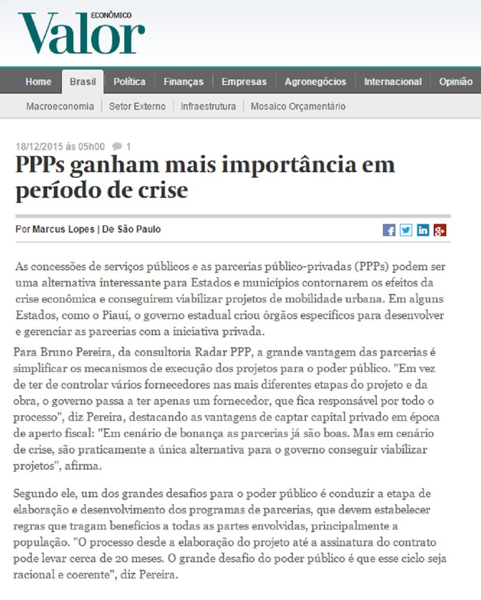 Radar PPP comenta Parcerias Público-Privadas no Brasil, em cenário de crise econômica, em reportagem do Valor Econômico