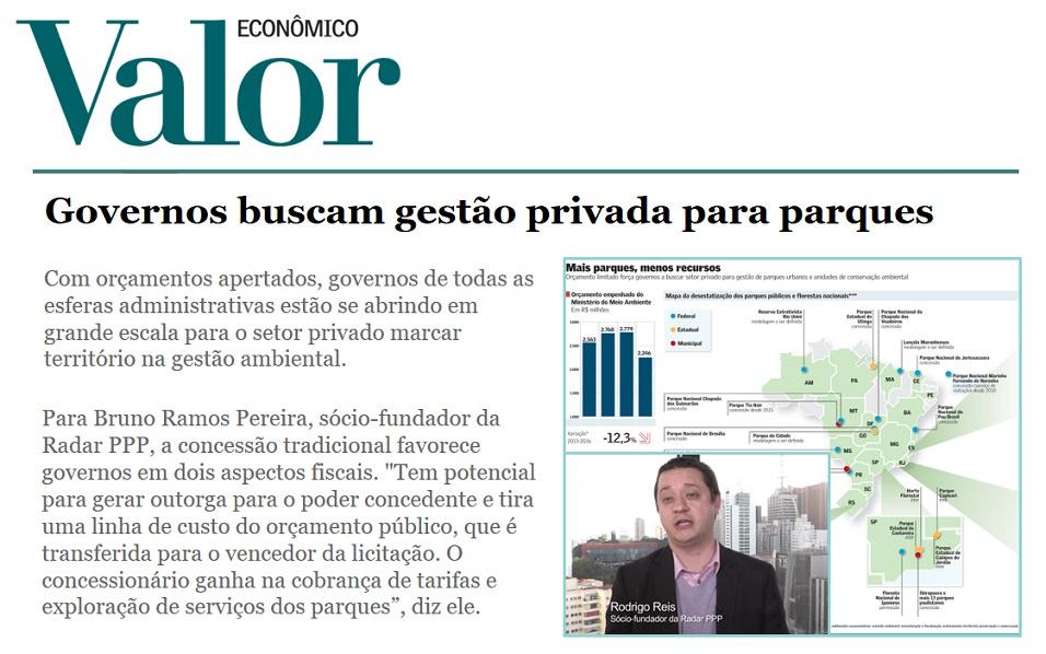 Valor Econômico ressalta crescimento do mercado de PPPs na área do meio ambiente