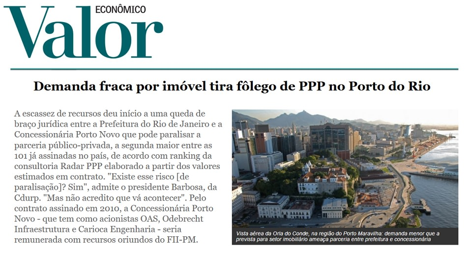 Caixa, Prefeitura do Rio de Janeiro e Concessionária Porto Novo enfrentam problemas para regularidade da Parceria Público Privada do Porto Maravilha