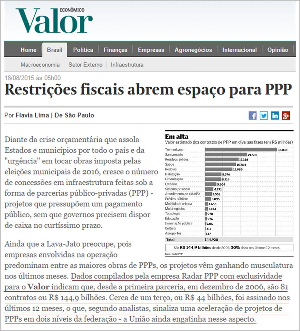 Reportagem Valor Econômico destaca Radar PPP restrições fiscais PPP